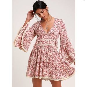 Free People Berry Red Floral Print Mini Dress